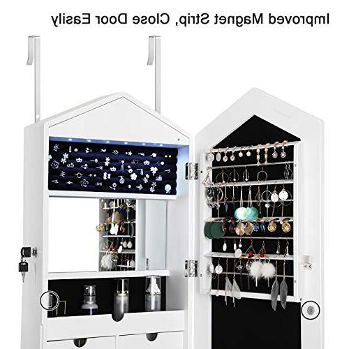 SONGMICS Beautiful Cabinet Armoire 6 LEDs Wall/Door Jewelry Organizer Mirrors White