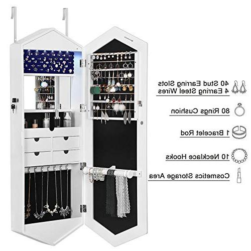 SONGMICS Beautiful Cabinet Armoire Beveled 6 Wall/Door Mounted Jewelry with Mirrors White UJBC73WT