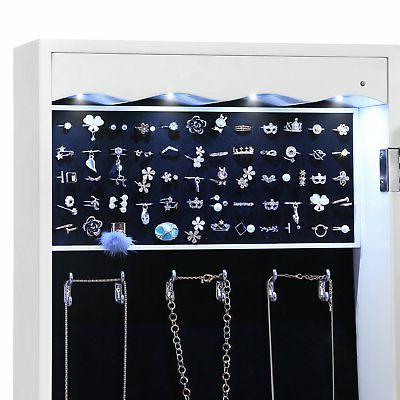 SONGMICS LED Jewelry Armoire with Drawers Lockable