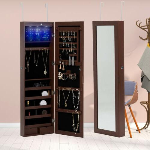LED Mirror Jewelry Cabinet Wall Door Mounted Organizer Armoi