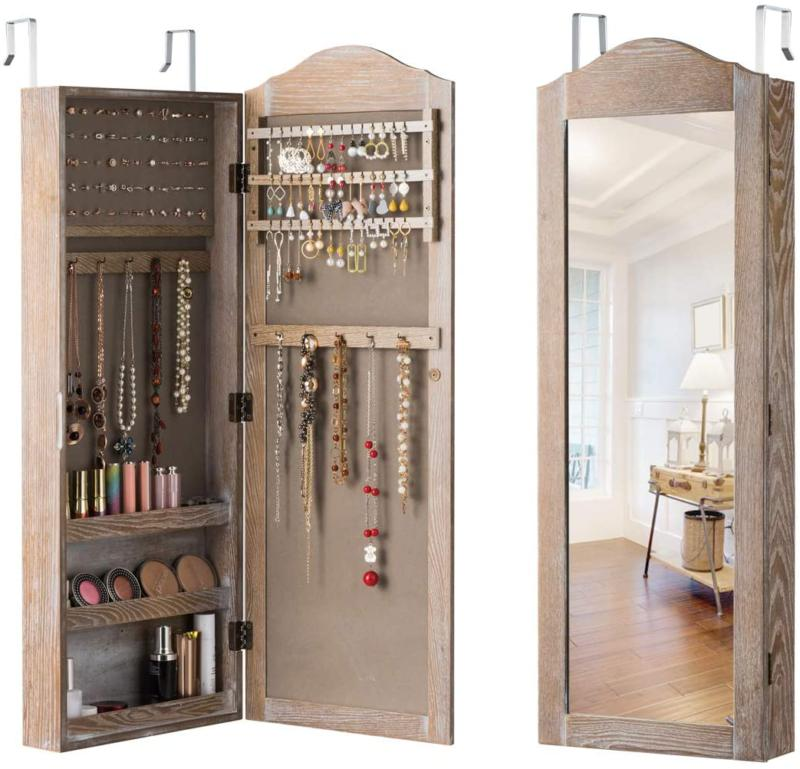Locking Jewelry Armoire Cabinet Wall Door Mount Mirror Full
