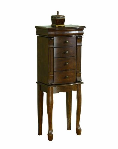 Powell Louis Philippe Walnut Finish Jewelry Armoire