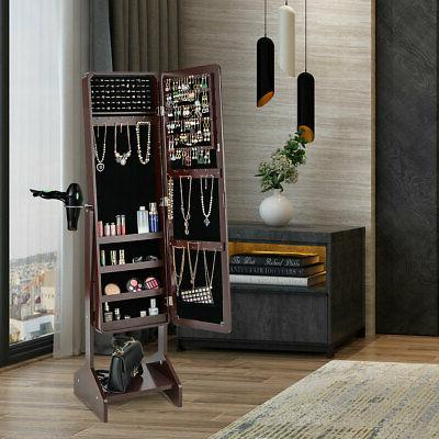 Mirror Jewelry Cabinet Storage Home Brown