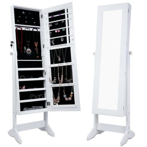 Free Standing Lockable Full-Length Mirrored Jewelry Armoire