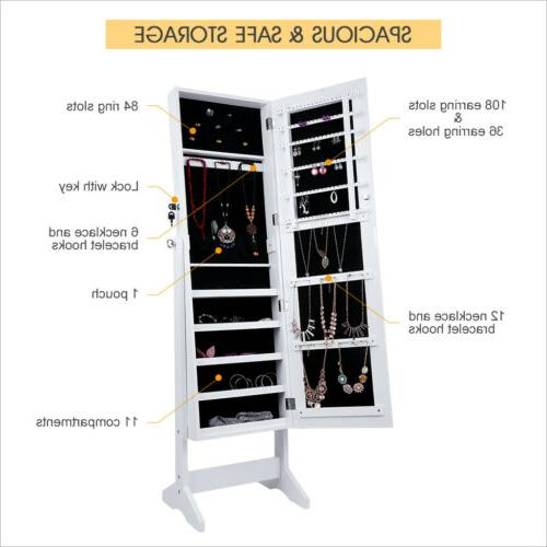 Mirrored Jewelry Armoire Home Adjustable Storage Free Standing
