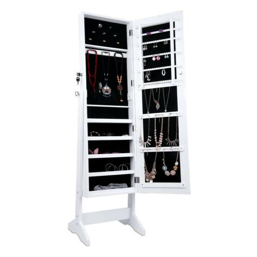 Mirrored Armoire Home Adjustable Cabinet Organizer Free Standing