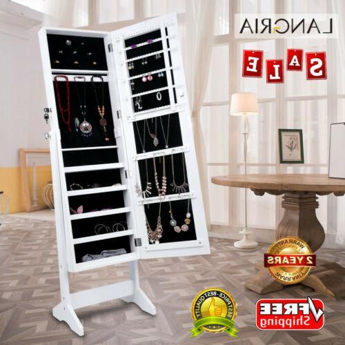 mirrored jewelry armoire home adjustable storage cabinet