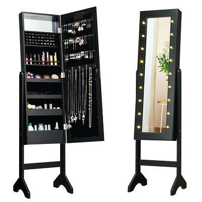 Freestanding Mirrored Jewelry Cabinet with LED Lights - Armo