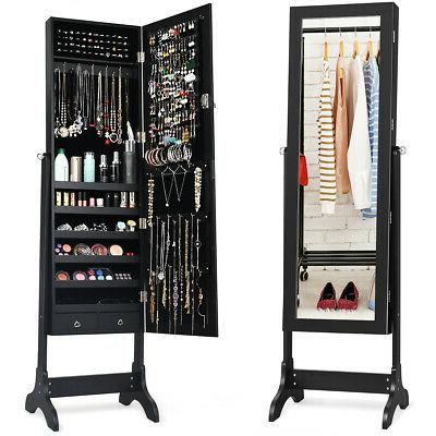 mirrored jewelry cabinet armoire storage organizer box