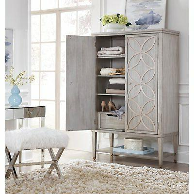 HomeFare Modern Armoire with Carved Leaf