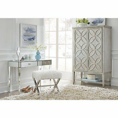 HomeFare Modern Armoire Carved Silver