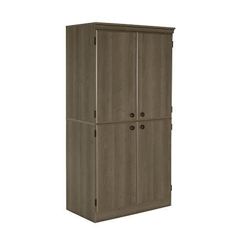 South Tall Storage Cabinet Shelves, Gray Maple