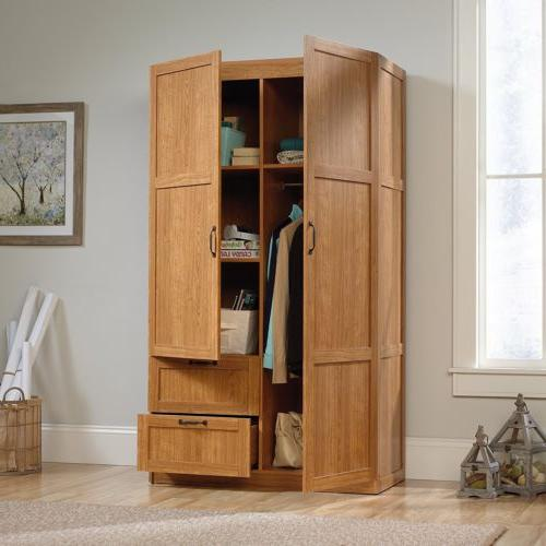Oak Armoire Wooden Wardrobe Storage Cabinet Drawers