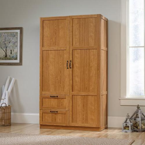 oak finish armoire wooden wardrobe storage cabinet