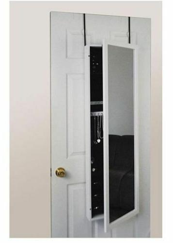Over The Door Jewelry Armoire with Mirror, Wall Mount Jewelr