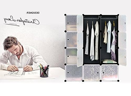 MAGINELS Modular Wardrobe Storage Organizer Doors, Large and Construction, 6 Cubes 2 Sections,
