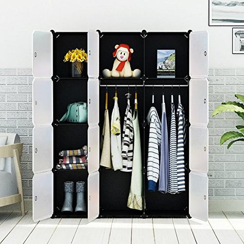 MAGINELS Portable Clothes Modular Storage Organizer Large Sturdy 2 Sections,