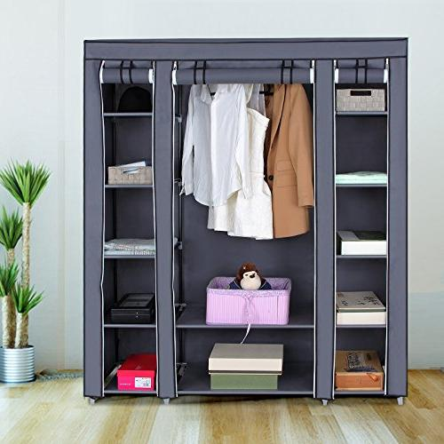 SONGMICS Wardrobe Closet Portable Closet Shelves, Closet Organizer with and Extra Strong and Durable, Gray ULSF03G