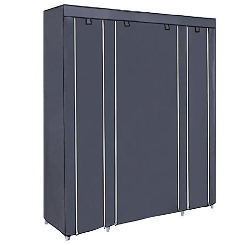 SONGMICS Closet Wardrobe Shelves, Closet Storage and to Extra Strong Gray ULSF03G