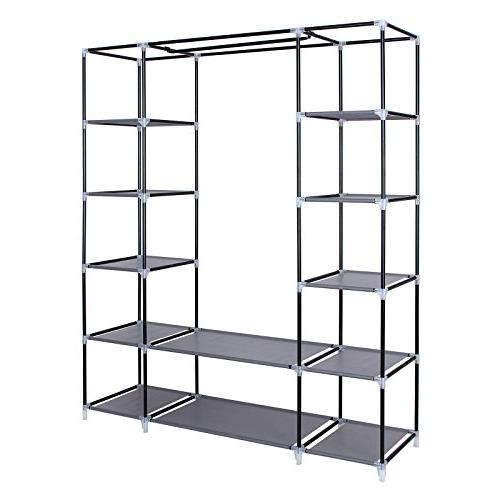 "SONGMICS 59"" Closet Wardrobe Closet Portable Shelves, Closet with Fabric, Quick and Easy Extra Gray"