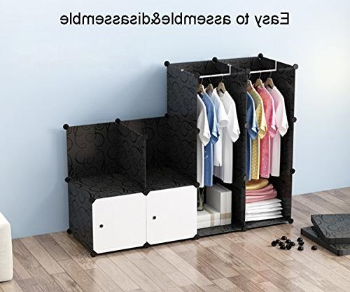JOISCOPE Portable for Hanging Clothes, Combination Armoire, Modular Cabinet for Saving, Cube for Books, Toys, Towels