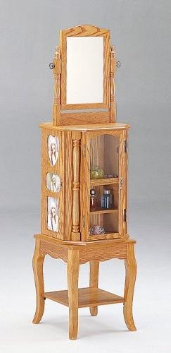 Queen Anne Style Oak Finish Wood Revolving Jewelry Armoire