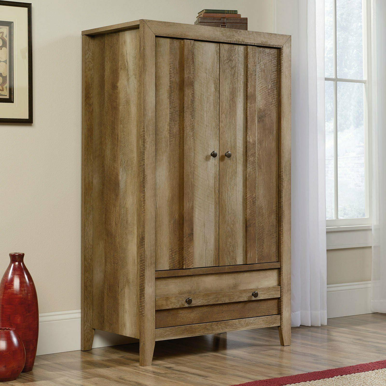 Rustic Wardrobe Storage Cabinet Bedroom Closet Armoire Dress
