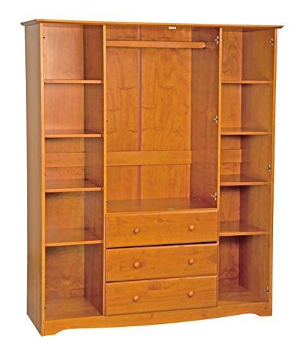 "New! 100% Solid Family Wardrobe/Armoire/Closet Palace Imports, Honey Pine, 60"" x H 21"" D. 3 Rods Optional Large Shelves"