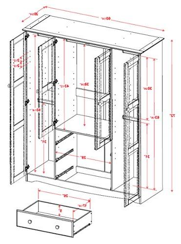"New! Family Wardrobe/Armoire/Closet 5964 Palace 60"" H D. 3 Rods Optional Small Large Shelves"