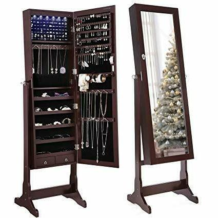 songmics 6 leds mirrored jewelry cabinet lockable