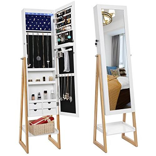 SONGMICS LEDs Lights Jewelry Armoire with Mirror, Style Jewery Storage Organizer Drawers,