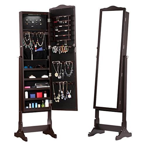 LANGRIA 10 LEDs Standing Full-Length Mirrored Jewelry with Shelves, for Broaches, Brown