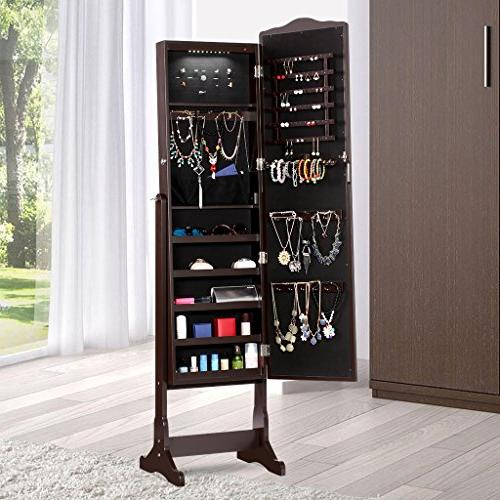LANGRIA Standing Cabinet Full-Length Jewelry with Shelves, Organizer for Broaches,