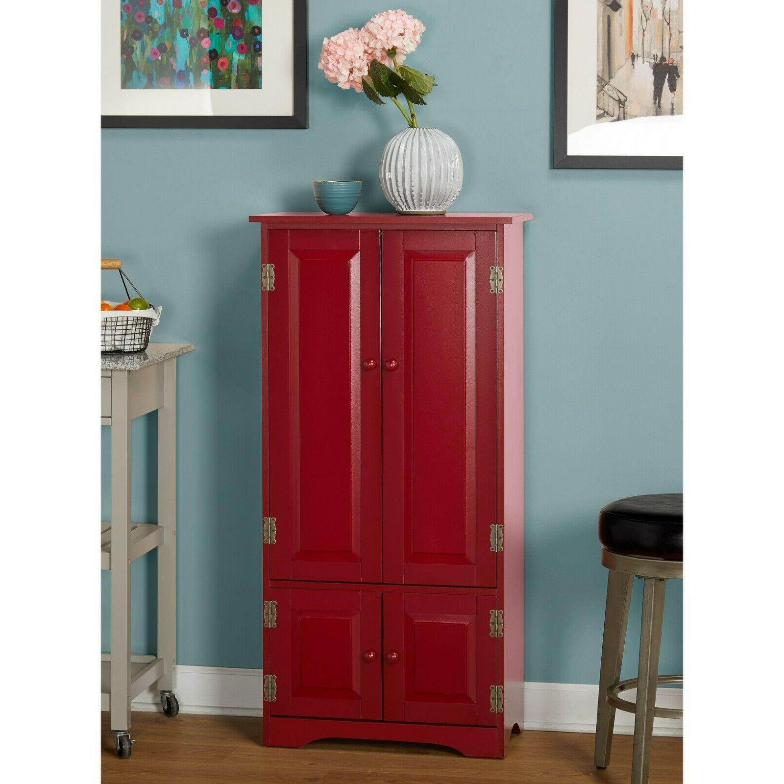 Tall Red Storage Cabinet Kitchen Pantry Cupboard Chin