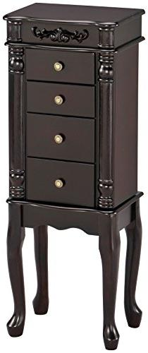 Benzara Tiana Jewelry Armoire, Espresso Brown Jewelery Box