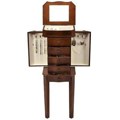 Home Armoire Storage Organizer Jewelry Cabinet w/5 Drawers&