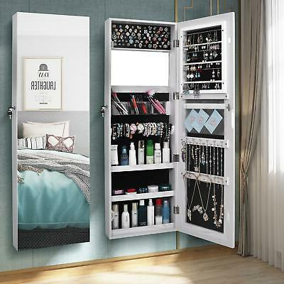 wall door mounted mirrored jewelry cabinet armoire