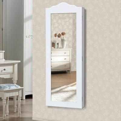 Wall Mounted Mirrored Jewelry Cabinet Armoire Storage Organizer Home Decor