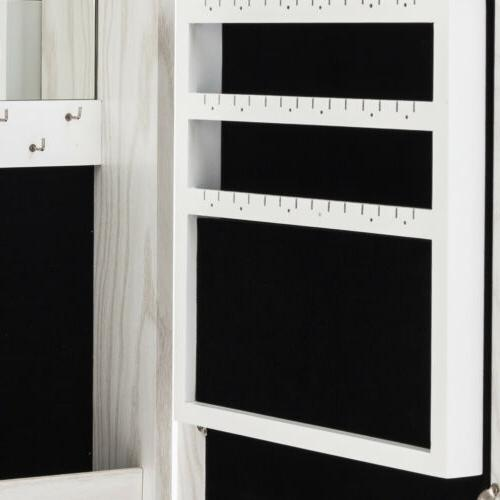 Wall Mounted Mirrored Jewelry Cabinet Armoire Storage Organizer Home White