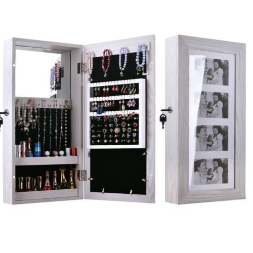 Wall Mounted Jewelry Storage Cabinet Mirrored Armoire Makeup