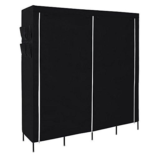 SONGMICS Closet Portable Wardrobe Clothes Rack 12 Side Pockets