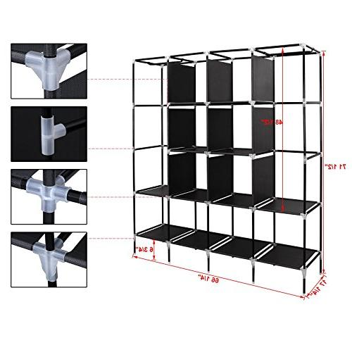"SONGMICS 67"" Clothes Portable Clothes Rack 12 Shelves Side"