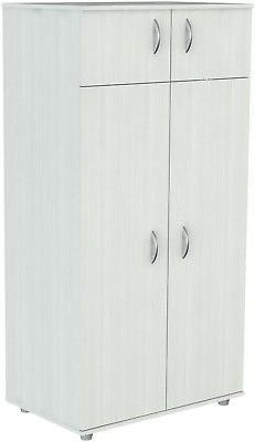 Wardrobe Closet White Armoire Four-Door With 2-Top Shelves 1