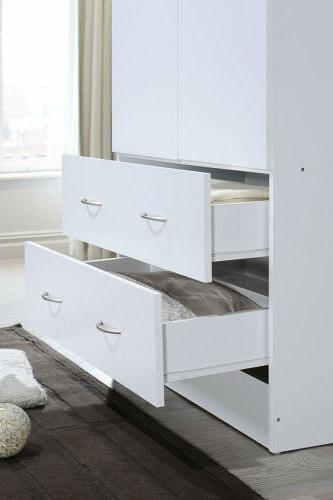 White Finish Armoire Wardrobe Closet Drawers Organizer