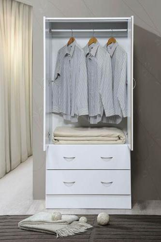 White Finish Wooden Armoire Wardrobe Storage Drawers