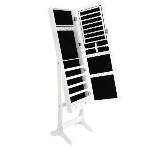 White Jewelry Cabinet with Full-Length Mirrored  Armoire Loc