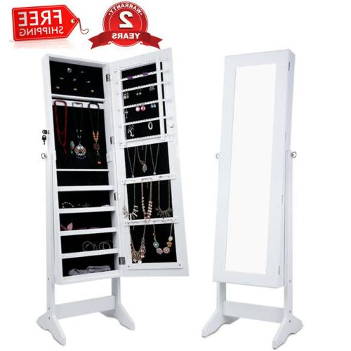 white lockable mirrored jewelry cabinet armoire home