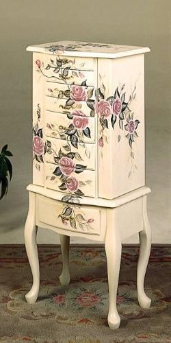 Wood Jewelry Armoire Dresser/chest with Hand Painted Floral