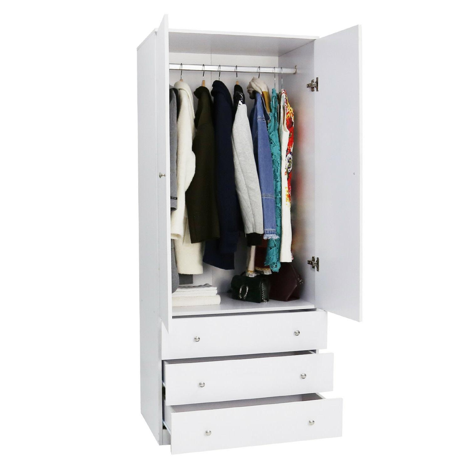Wood Armoire Wardrobe Cabinet Clothes Drawer