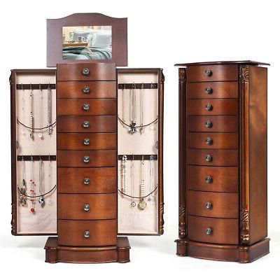 wood jewelry cabinet armoire box storage chest